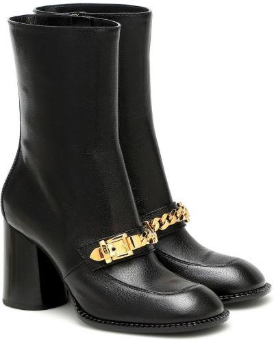 Skórzany złoty czarny buty skórzane z klamrą Gucci
