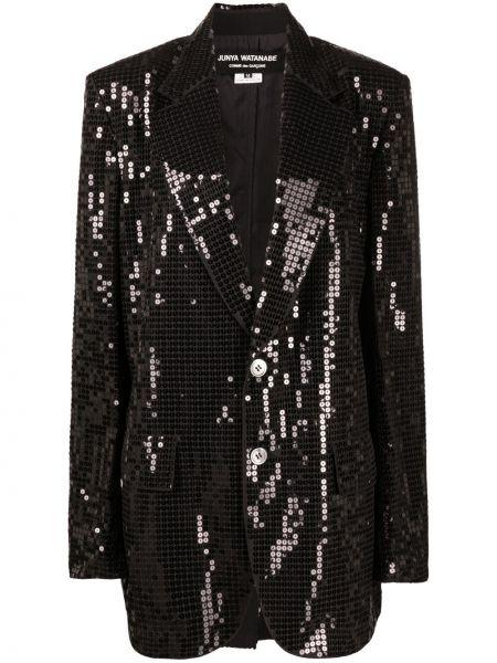 Черный удлиненный пиджак с карманами с отворотом Junya Watanabe