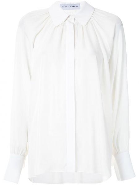 Белая шелковая классическая рубашка с воротником на пуговицах Gloria Coelho