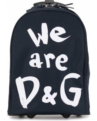 Синий чемодан на молнии с карманами Dolce & Gabbana Kids