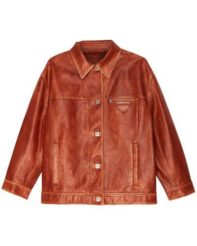 Кожаная куртка на пуговицах на молнии Prada