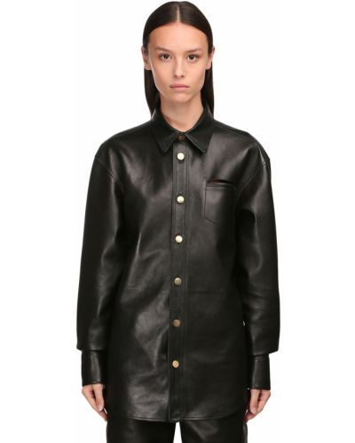 Кожаная черная классическая рубашка с воротником Bottega Veneta