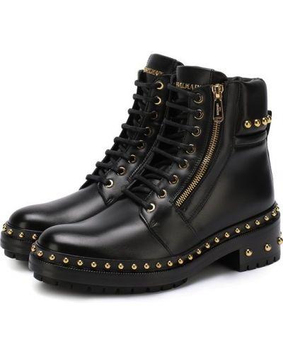 Ботинки на шнуровке с заклепками байкерские Balmain
