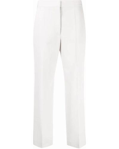 Прямые шерстяные серые укороченные брюки Stella Mccartney