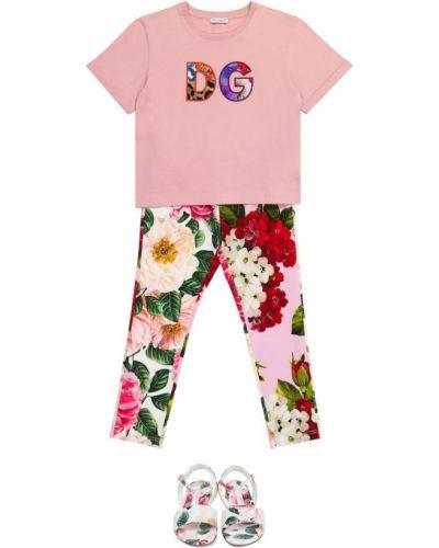 Różowe legginsy bawełniane Dolce & Gabbana Kids