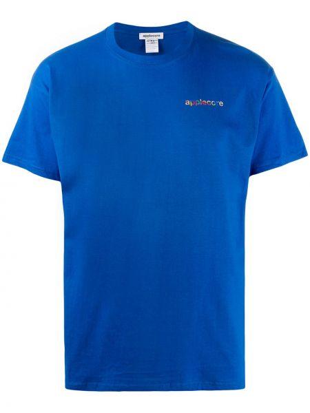 Niebieski t-shirt bawełniany z haftem Applecore