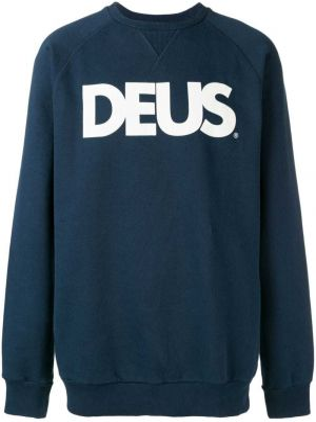 Синяя толстовка с вырезом Deus Ex Machina