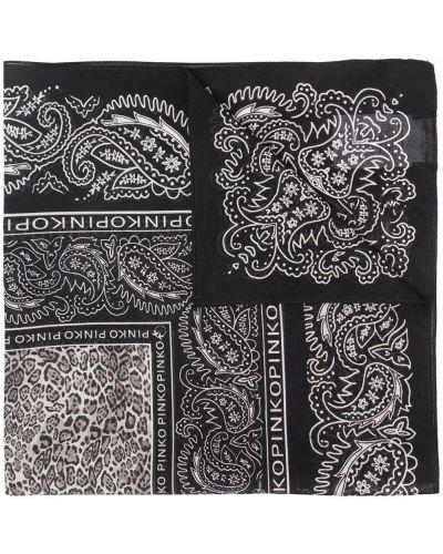 Czarny szalik bawełniany z printem Pinko