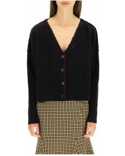 Czarny sweter z dekoltem w serek Marni