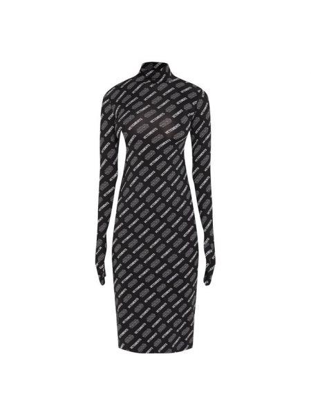 Облегающее платье черное с длинными рукавами Vetements