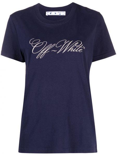 Niebieski bawełna koszula krótkie rękawy okrągły Off-white