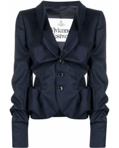 Шерстяной синий удлиненный пиджак на пуговицах Vivienne Westwood