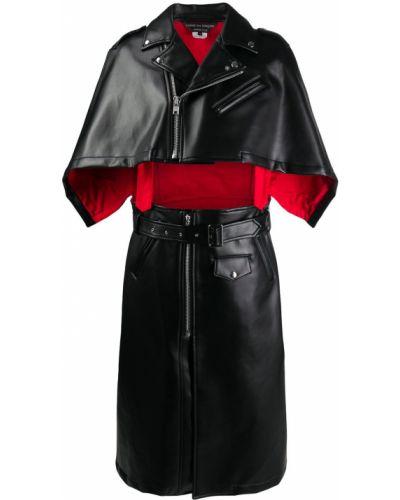 Czarny bawełna peleryna z prawdziwej skóry z kieszeniami Comme Des Garcons Homme Plus