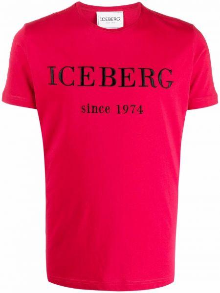 Красная футболка с вышивкой Iceberg