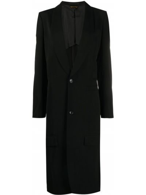 Шерстяное черное длинное пальто на пуговицах Comme Des Garçons