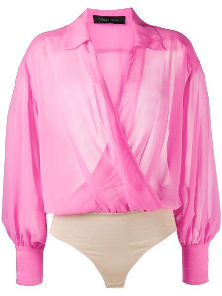 Розовая блузка с длинным рукавом прозрачная с запахом узкого кроя Christian Pellizzari