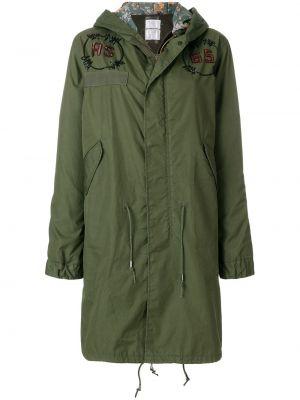 Кожаная зеленая длинное пальто с капюшоном As65