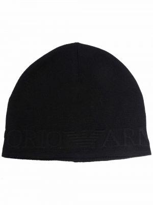 Черная шапка с вышивкой Emporio Armani