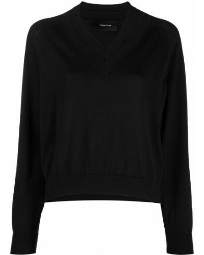 Шелковый тонкий черный джемпер с V-образным вырезом Simone Rocha