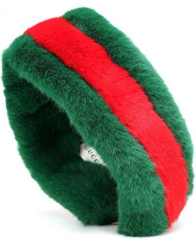 Зеленый ободок из искусственного меха в полоску Gucci Kids