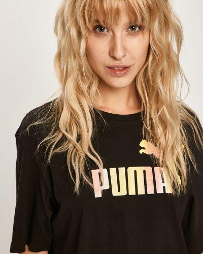 Футбольная черная футболка со стразами с декольте Puma