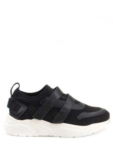 Комбинированные текстильные черные кроссовки эластичные Stokton