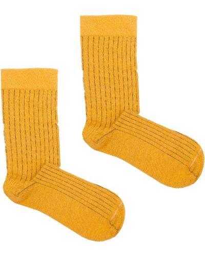 Prążkowane żółte skarpety bawełniane Kabak