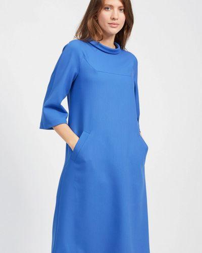 Платье миди осеннее синее Affari