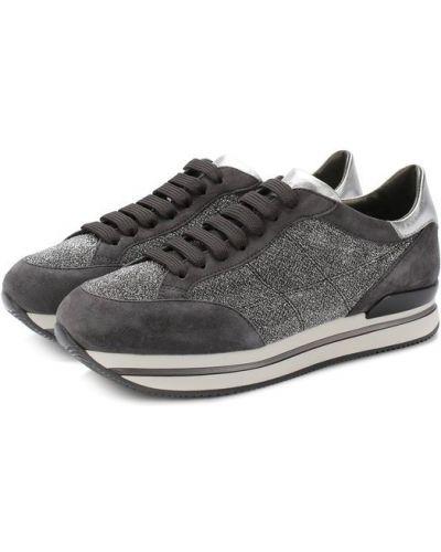 Кроссовки с глиттером на шнуровке Hogan