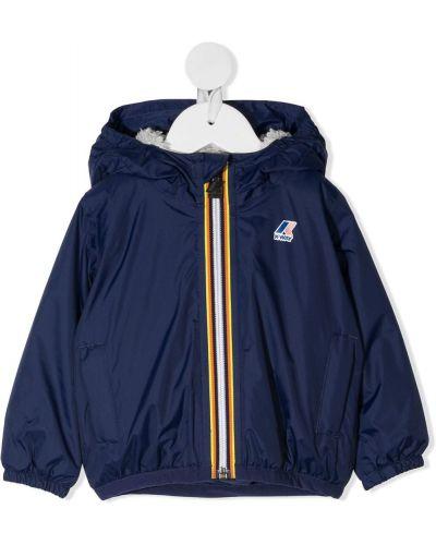 Синее пальто классическое с капюшоном с заплатками K Way Kids