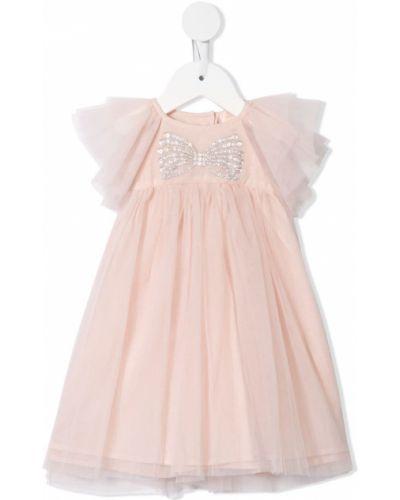 Прямое розовое платье с рукавами из фатина на пуговицах Tutu Du Monde