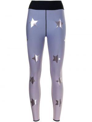 Fioletowe legginsy z nylonu z printem Ultracor