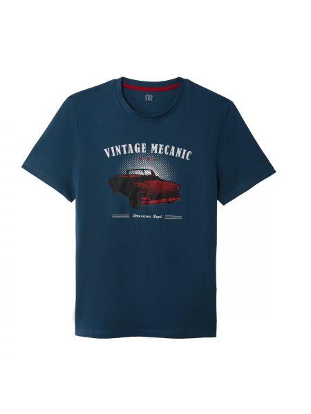 Хлопковая темно-синяя футболка с рисунком с круглым вырезом с короткими рукавами La Redoute Collections