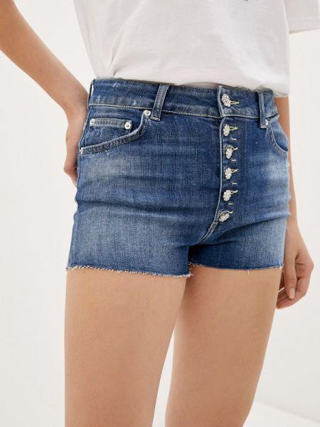 Синие джинсовые шорты со стразами Dondup