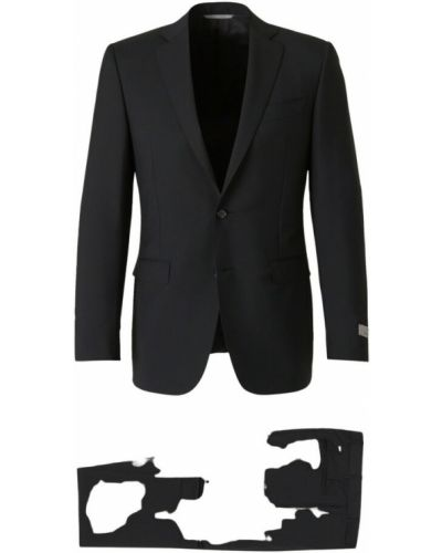 Czarny garnitur wełniany Canali