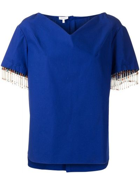 Рубашка с коротким рукавом - синяя Delpozo