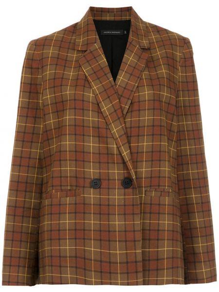 С рукавами хлопковая коричневая куртка двубортная Andrea Marques