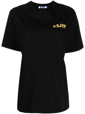 Хлопковая с рукавами черная рубашка Sjyp