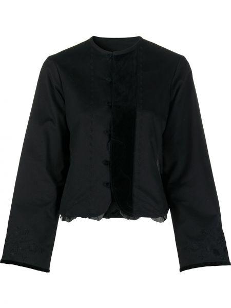 Хлопковая черная блузка с длинным рукавом с воротником с вышивкой Renli Su