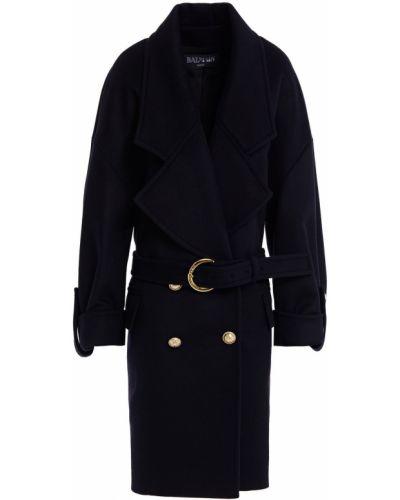 Синее кашемировое пальто Balmain