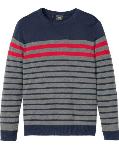 Серый пуловер с вырезом круглый Bonprix