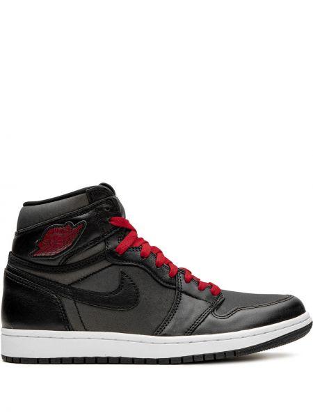 Кожаные черные высокие кроссовки винтажные на шнуровке Jordan