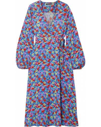 Niebieska sukienka midi kopertowa z wiskozy Rotate Birger Christensen