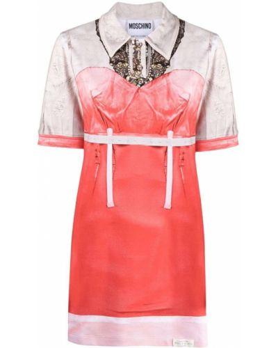 Прямое бежевое платье мини с воротником Moschino
