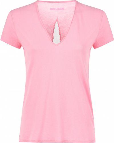 Хлопковая футболка - розовая Zadig & Voltaire