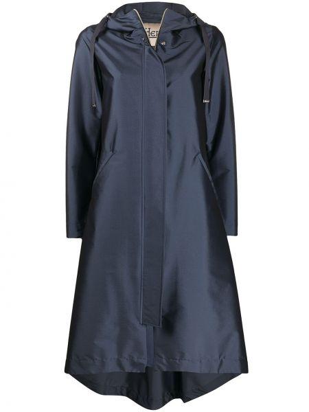 Асимметричное пальто с капюшоном айвори металлическое с карманами Herno