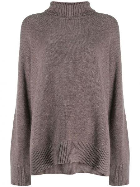 Кашемировый серый вязаный свитер свободного кроя Sminfinity
