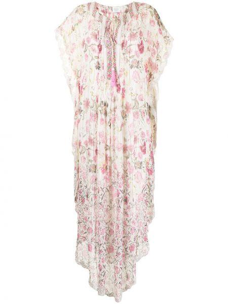 Платье мини в цветочный принт - розовое Hemant And Nandita