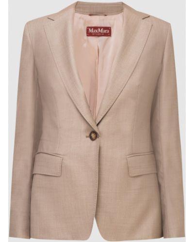 Шерстяной бежевый пиджак Max Mara