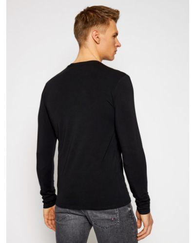 Czarny koszulka z długim rękawem Guess